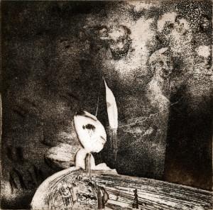 G. Bekker, kurz vor der Nacht, 1980, Aquatinta mit Strichätzung, 10,8 x 11 cm, sign 1/1