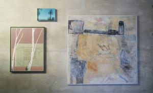 Hängung mit E. Hartwig, UEBERM, 2005, Mischtechnik auf Leinwand, 120 x 120 cm, in der Galerie BildPlus
