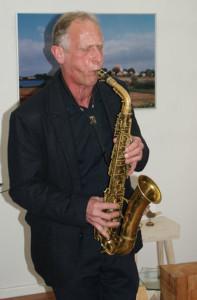 Hinrich Beermann, Saxophon, bei der Eröffnung, 10.11.2016