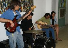 Musiker C. H. Andres, A. G. Anaya und R. C. Cortes, Ausstellungseröffnung, Galerie 910, Oaxaca-Stadt, 29.07.2017, Foto B. Lau