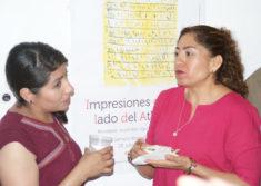Die zwei Galeriefrauen, Ausstellungseröffnung, Galerie 910, Calle Macedonio Alcala 305, Oaxaca-Stadt, 29.07.2017, Foto B. Lau