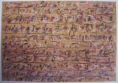 E. Hartwig, 2017-10-05, II, gelber, oranger, roter und violetter Buntstift, braune und weisse Kreide auf Zeichenpapier, pigmentiert und geölt, 35,2 x 50,7 cm
