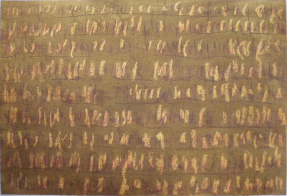 2017-10-05, IV, oranger und violetter Buntstift, braune und weisse Kreide, Kohle auf Zeichenpapier, pigmentiert und geölt, 35,2 x 50,7 cm