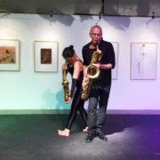 Ausstellungseröffnung 11.11.2017, Alina Niborski, Ausdruckstanz, und Hinrich Beermann, Saxophon, Foto: U. Hausfeld