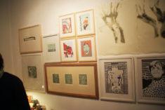 Wanddetail mit Arbeiten u.a. von E. Hartwig, Ausstellungseröffnung grafikstudiogalerie, 24.11.2017