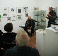 U. kk. Köhler, Lesung, H. Beermann, Saxophon, Ausstellungseröffnung galerie grünstr., 23.11.2017