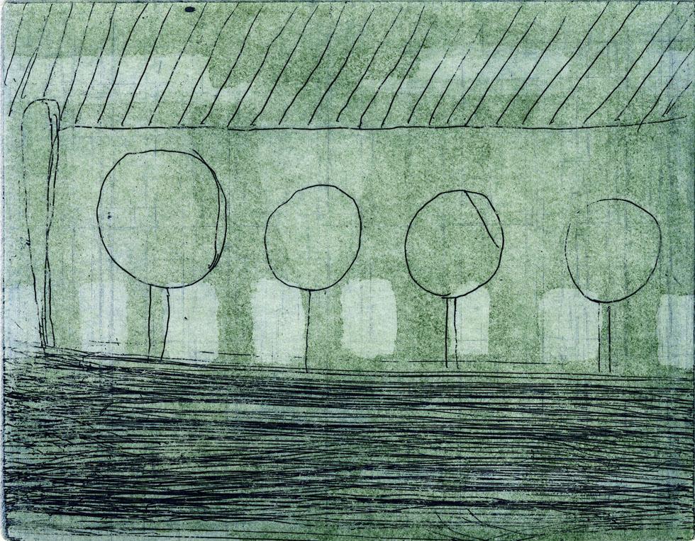 5BAEUME+, 01/2015, 2-Farb-Aquatinta und Strichätzung, 11,8 x 15 cm, sign. I