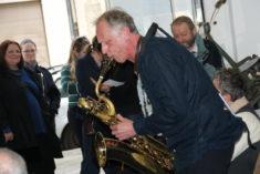Hinrich Beermann, Saxophon, zur Ausstellungseröffnung am 14.04.2018, Foto: B. Lau