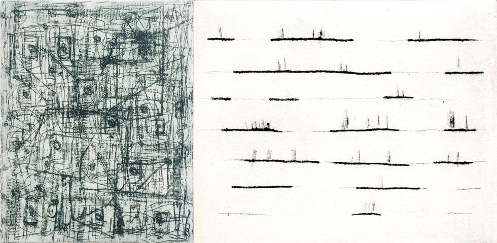 Links: X. Scherenberg Farret, Berlin 1, 2017, Aquatinta and punta seca, 28 x 19 cm - rechts: E. Hartwig, ADLIBITUM, 03/2018, Kaltnadel, 15,4 x 19,2 cm