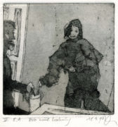 Brigitte Döbert, Die neue Wohnung, 2017, Aquatint, Line Etching, 14,8 x 14,7 cm, sign. V E.A.