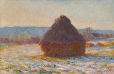Claude Monet, Meule effet de neige soleil _Verschneiter Getreideschober in der Sonne, 1891, Öl auf Leinwand, 65 x 100 cm, Privatsammlung - Copy by Museum Barberini