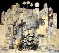 Abbildung: Elke Pollack, Zu zweit bei Nacht unterwegs, 2021, Öl, Collage, Monotypie und Stifte auf Papier, 50 x 57 cm