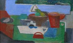 Wolfgang Leber, Der grüne Tisch, 2010, Öl, 50 x 82 cm