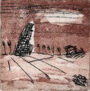 E. Hartwig, MONUMENT II, 02/2016, 2-Farbplatten Aquatinta + Strichätzung, 13 x 12,9 cm, sign. II