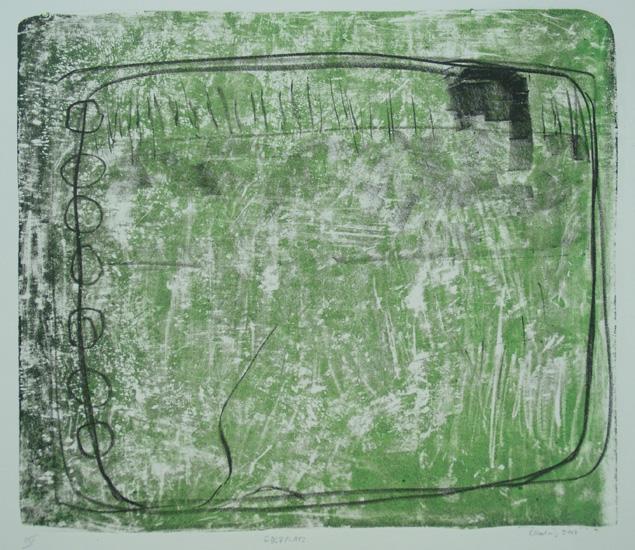 GOLFPLATZ, 2007, 2-Farb-Kreide-Tusche, geschabt-Lithographie, 29 x 32,5 cm, sign. IV