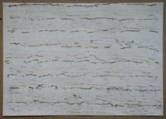 2018-01-11 III, blauer, gelber, roter Buntstift, braune und weisse Kreide, Kohle auf Zeichenpapier, 35,3 x 50,6 cm